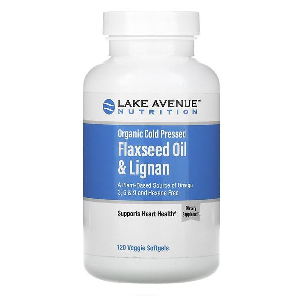 органическое льняное масло холодного отжима с лигнанами, без гексана, 120вегетарианских капсул