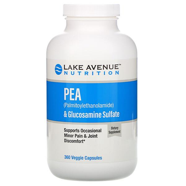 ПЭА (пальмитоилэтаноламид) + сульфат глюкозамина, 600 мг + 1200 мг на порцию, 360 растительных капсул