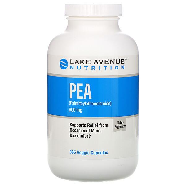 Lake Avenue Nutrition, ПЭА (пальмитоилэтаноламид), 600мг, 365растительных капсул