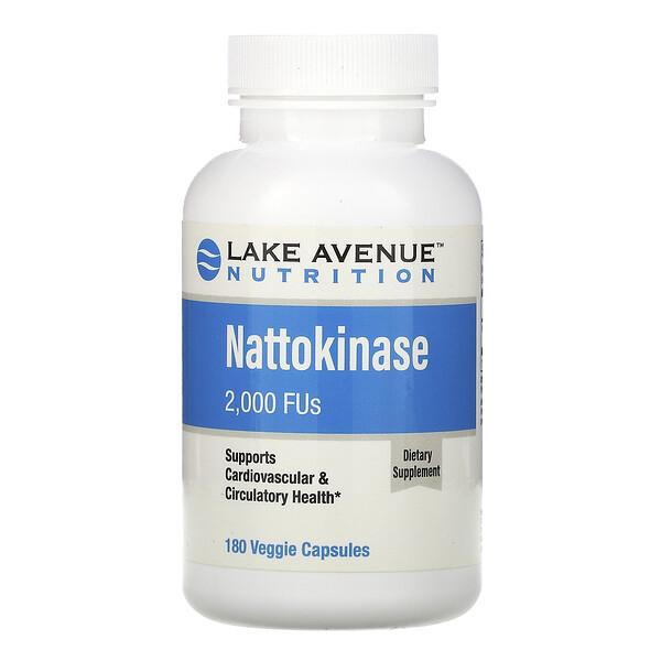 наттокиназа, протеолитический фермент, 2000FU, 180растительных капсул