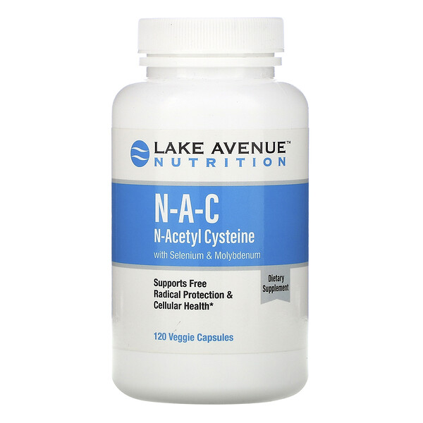 Lake Avenue Nutrition, N-A-C, N-Acetyl Cysteine with Selenium & Molybdenum, 600 mg, 120 Veggie Capsules