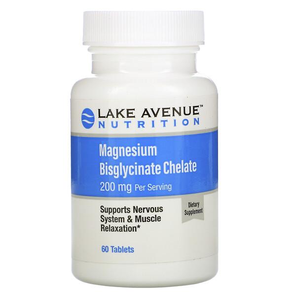 Lake Avenue Nutrition, Бисглицинат хелат магния, 200мг, 60таблеток