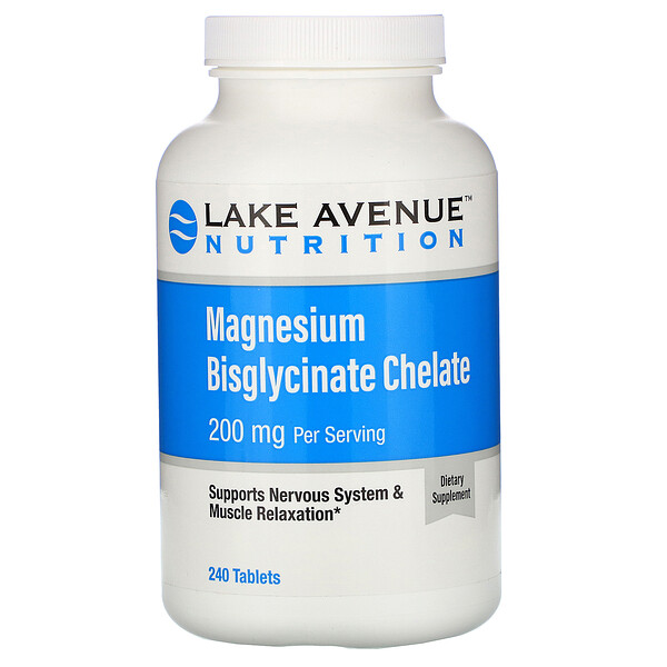 Lake Avenue Nutrition, Magnesium Bisglycinate, 200 mg Per Serving, 240 Tablets