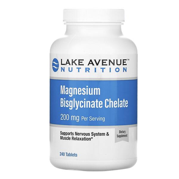 Lake Avenue Nutrition, бисглицинат магния, 200мг в 1порции, 240таблеток