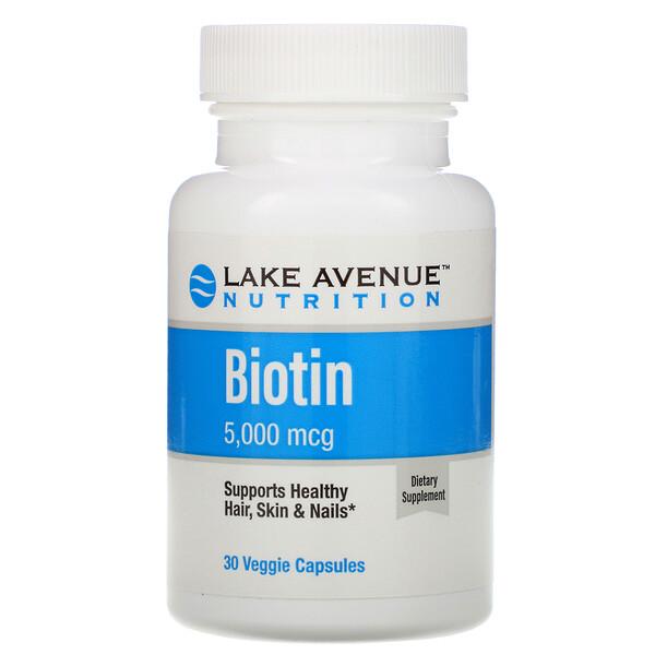 Lake Avenue Nutrition, Биотин, 5000мкг, 30 растительных капсул