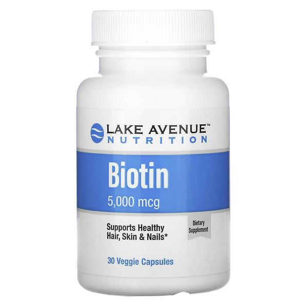Lake Avenue Nutrition, биотин, 5000мкг, 30растительных капсул