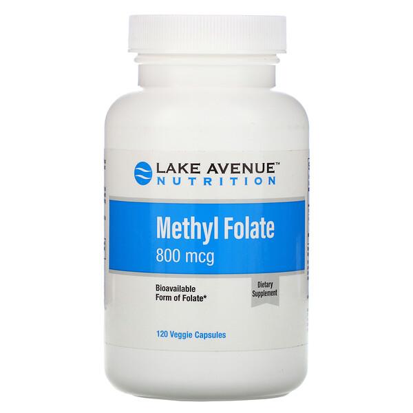 Метилфолат, 800 мкг, 120 растительных капсул