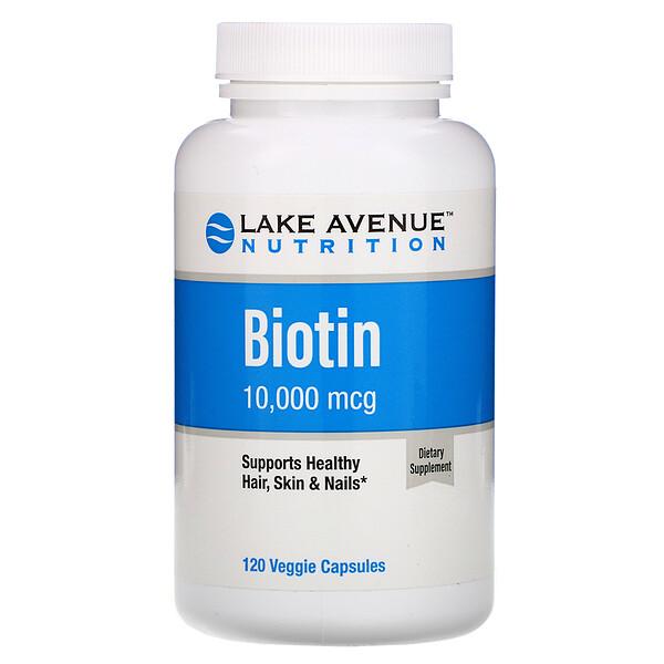 Lake Avenue Nutrition, Биотин, 10000мкг, 120растительных капсул
