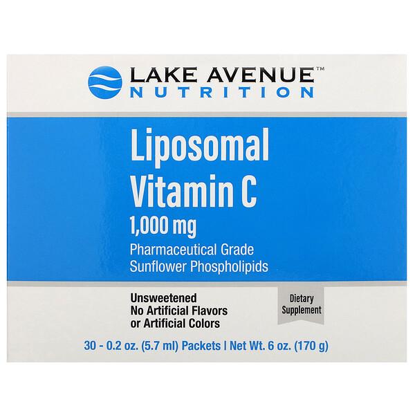 липосомальный витаминC, с нейтральным вкусом, 1000мг, 30пакетиков по 5,7мл (0,2унции)