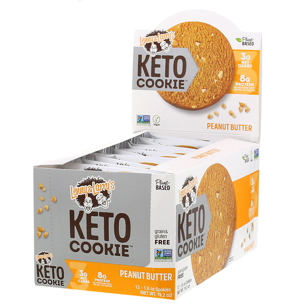 Lenny & Larry's, KETO COOKIE, Peanut Butter, 12 Cookies, 1.6 oz (45 g) Each