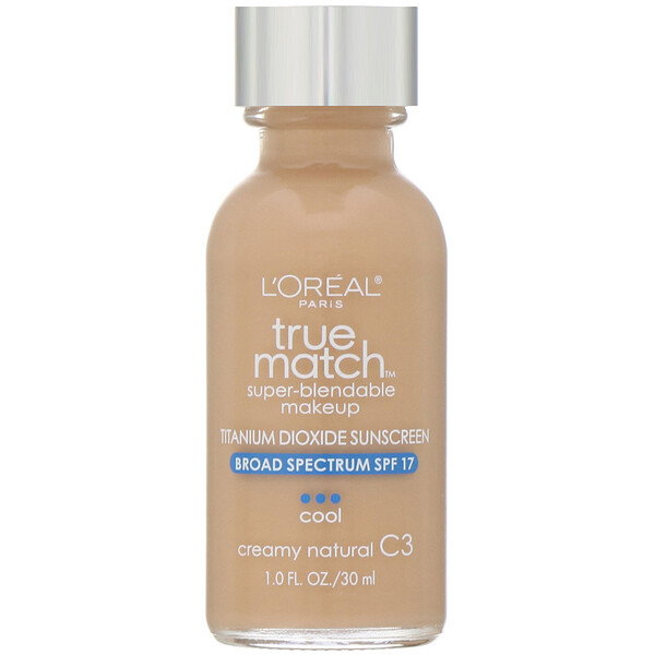L'Oreal, Тональная основа True Match Super-Blendable Makeup, оттенок натуральный кремовый C3, 30мл