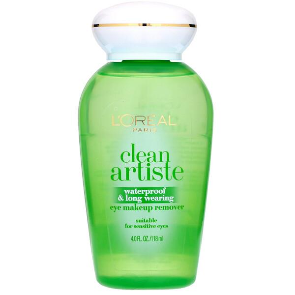 L'Oreal, Средство для снятия водостойкого и стойкого макияжа с глаз Clean Artiste, для чувствительных глаз, 118мл