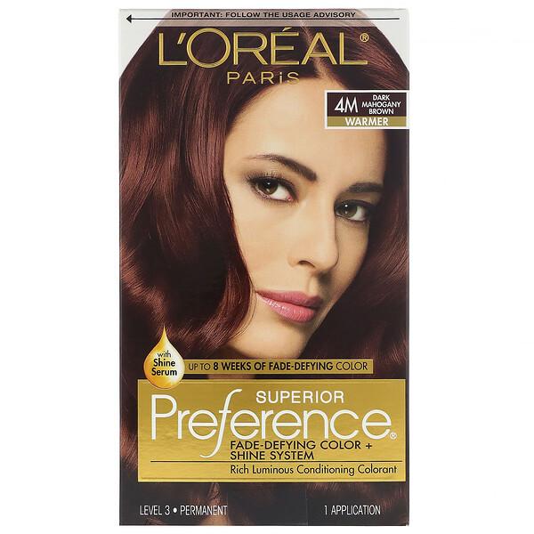 Краска для волос Superior Preference с технологией против вымывания цвета и системой придания сияния, теплый, темный красно-коричневый4M, на 1применение