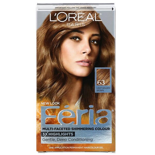Краска Feria для многогранного мерцающего цвета волос, оттенок 63 светлый золотисто-коричневый, на 1применение