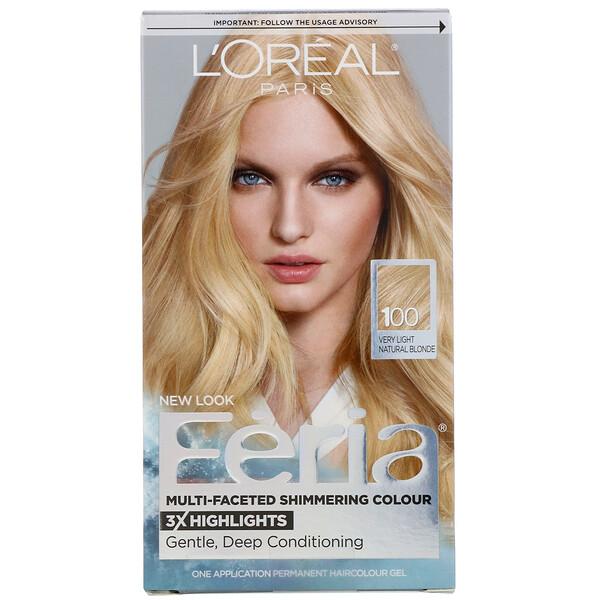 L'Oreal, Гель-краска Feria для многогранного мерцающего цвета волос, оттенок 100 очень светлый натуральный блонд, на 1применение