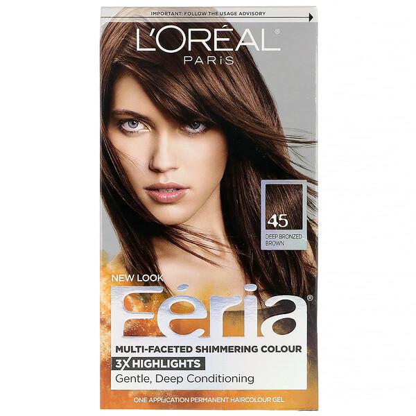 L'Oreal, Краска Feria для многогранного мерцающего цвета волос, оттенок 45 глубокий бронзово-коричневый, на 1применение