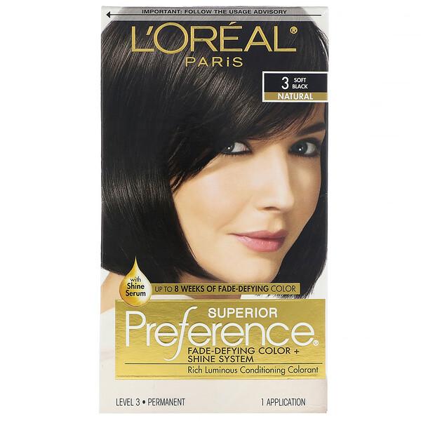 Краска для волос Superior Preference с технологией против вымывания цвета и системой придания сияния, натуральный, мягкий черный3, на 1применение