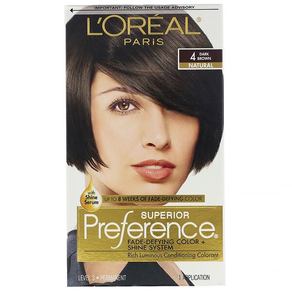 Краска для волос Superior Preference с технологией против вымывания цвета и системой придания сияния, натуральный, темно-коричневый4, на 1применение