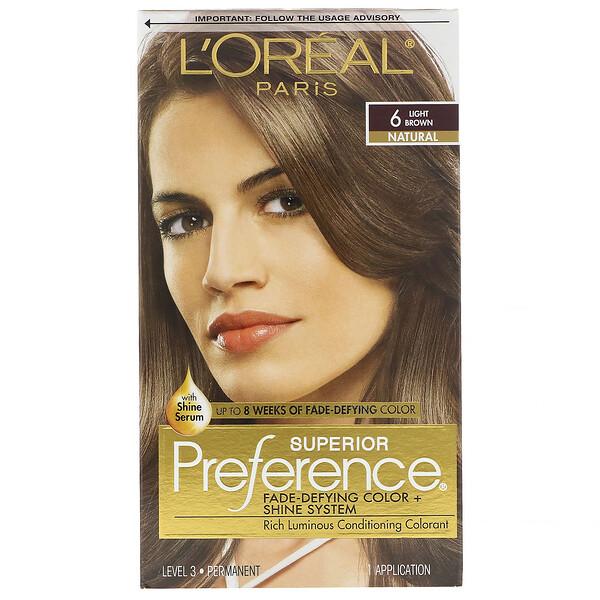 Краска для волос Superior Preference с технологией против вымывания цвета и системой придания сияния, натуральный, оттенок6 светло-каштановый, на 1применение