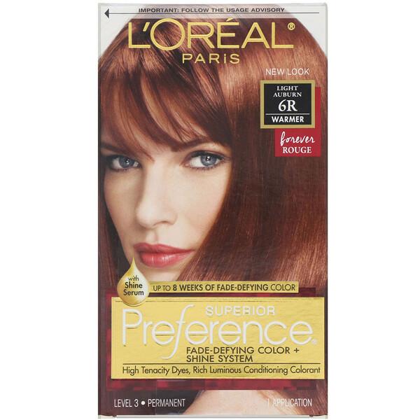 L'Oreal, Superior Preference, краска для волос с технологией против вымывания цвета и системой придания сияния, теплый оттенок, светло-каштановый6R, на 1применение (Discontinued Item)