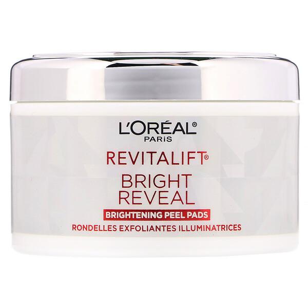 L'Oreal, Revitalift Bright Reveal, осветляющие пилинг-диски, 30пропитанных раствором дисков