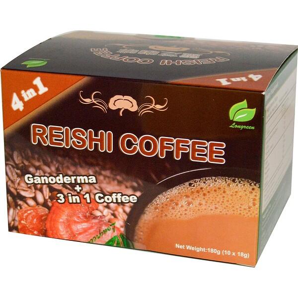 4 in 1 Reishi Coffee, 10 саше, каждое весом 18 г