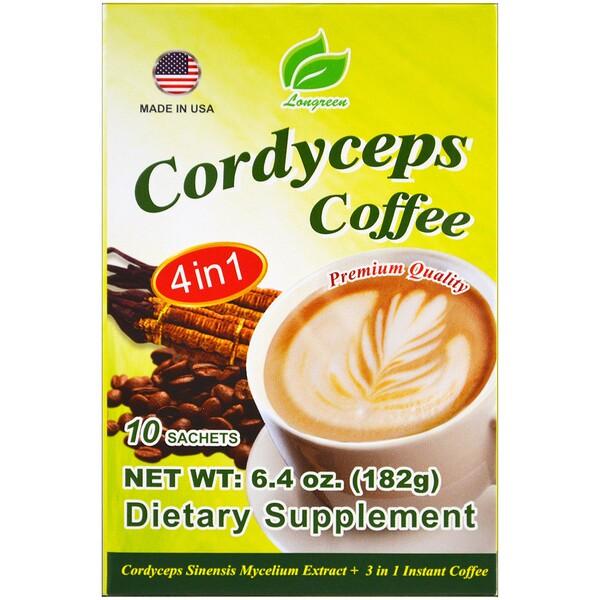 Longreen, Cordyceps Coffee, 4 в 1, кофе с кордицепсом, 10 пакетиков, 182 г (6,4 унции)