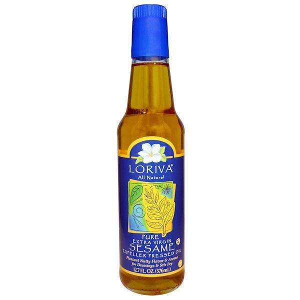 Loriva, All Natural, чистое кунжутное масло первого отжима, выжатое на прессе для холодного отжима, 12,7 жидкой унции (376 мл) (Discontinued Item)