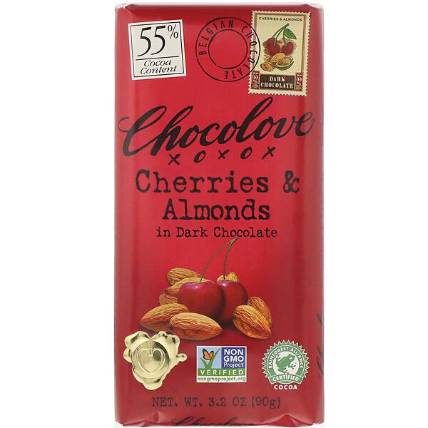 вишни и миндаль в темном шоколаде, 55% какао, 90 г (3,2 жидк. унции)
