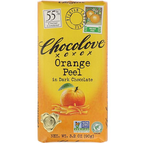 Chocolove, кожура апельсина в темном шоколаде, 55% какао, 90 г (3,2 жидк. унции)