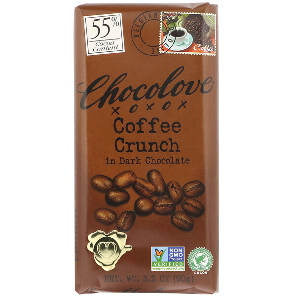 Chocolove, Coffee Crunch in Dark Chocolate, 55% Cocoa, 3.2 oz (90 g)