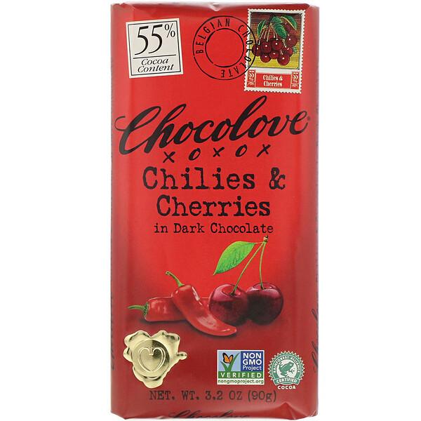 Чили и вишня в темном шоколаде, 55% какао, 90 г (3,2 унции)