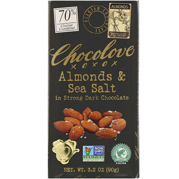 Almonds & Sea Salt in Strong Dark Chocolate, 70% Cocoa, 3.2 oz (90 g)