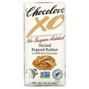 Chocolove, XO, Salted Almond Butter in 60% Dark Chocolate, 3.2 oz (90 g)