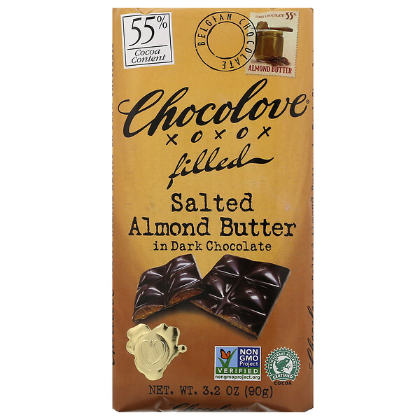Chocolove, Salted Almond Butter in Dark Chocolate, 55% Cocoa, 3.2 oz (90 g)