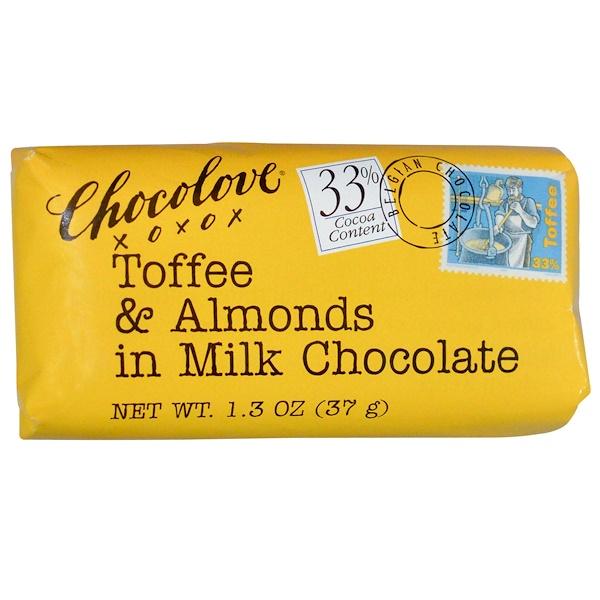 Chocolove, Тоффи и миндаль в молочном шоколаде, 1.3 унции (37 г) (Discontinued Item)