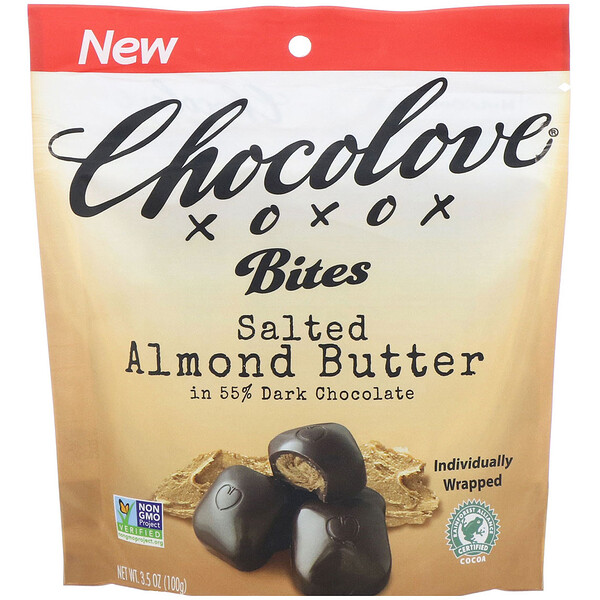 Bites, Salted Almond Butter in 55% Dark Chocolate, 3.5 oz (100 g)