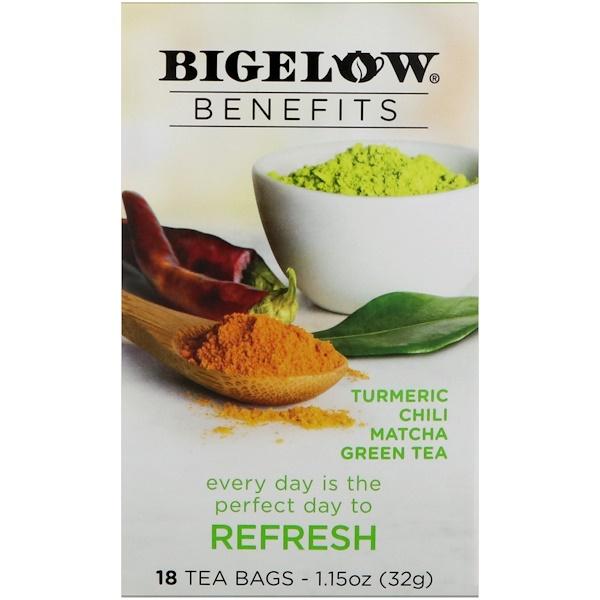 Bigelow, Benefits, Обновление, куркума, чили, матча, зеленый чай, 18 чайных пакетиков, 1,15 унц. (32 г) (Discontinued Item)