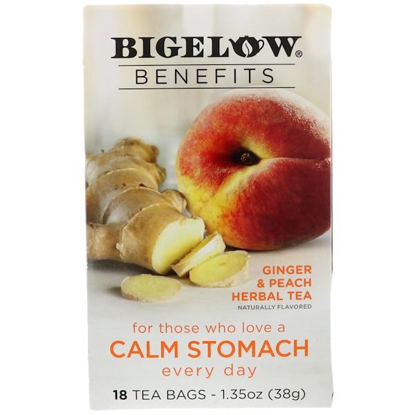 Bigelow, Спокойный желудок, травяной чай с имбирем и персиком, 18 чайных пакетиков, 38 г (Discontinued Item)