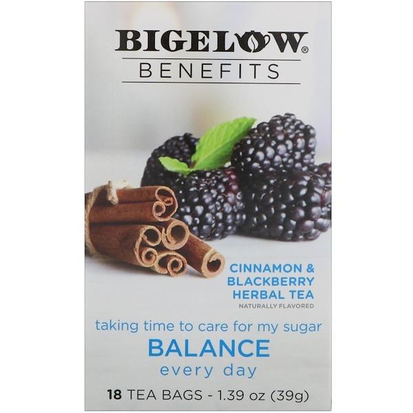 Bigelow, Benefits, Баланс, травяной чай с черникой и корицей, 18 чайных пакетиков, 1,39 унц. (39 г) (Discontinued Item)