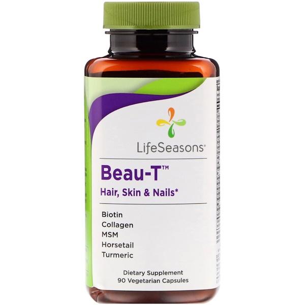 LifeSeasons, Beau-T, волосы, кожа и ногти, 90 вегетарианских капсул (Discontinued Item)