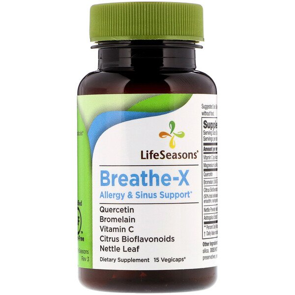 LifeSeasons, Breathe-X, средство от аллергии и заложенности носа, 15растительных капсул