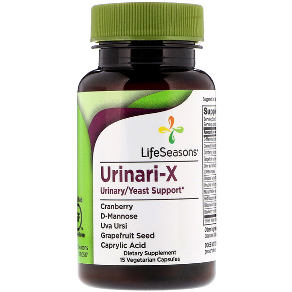 LifeSeasons, Мочевая/дрожжевая поддержка Urinari-X, 15 вегетарианских капсул