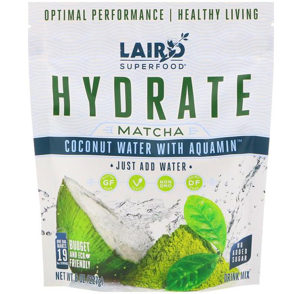 Laird Superfood, Гидратация, матча, кокосовая вода с аквамином, 8 унций (227 г) (Discontinued Item)