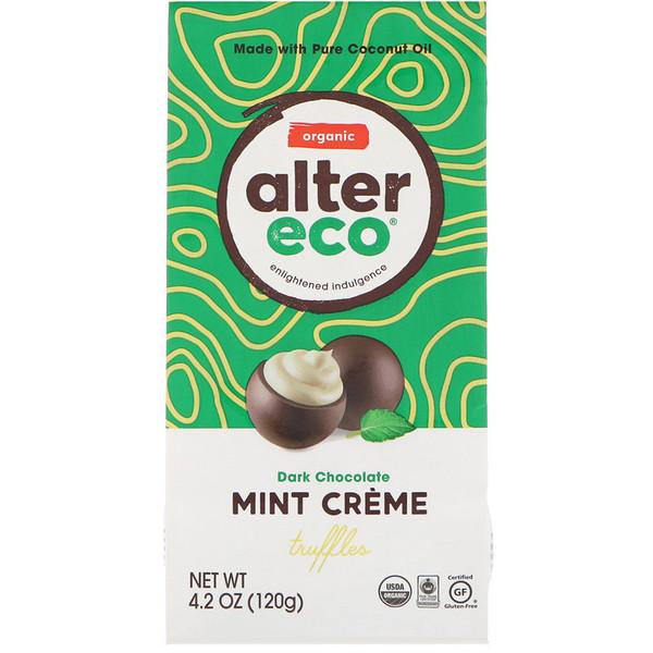 Alter Eco, Органические трюфели с мятным кремом, черный шоколад, 120г (4,2унции) (Discontinued Item)