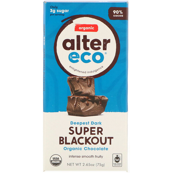Alter Eco, Organic Chocolate Bar, Deepest Dark Super Blackout, 90% Cocoa, 2.65 oz (75 g)