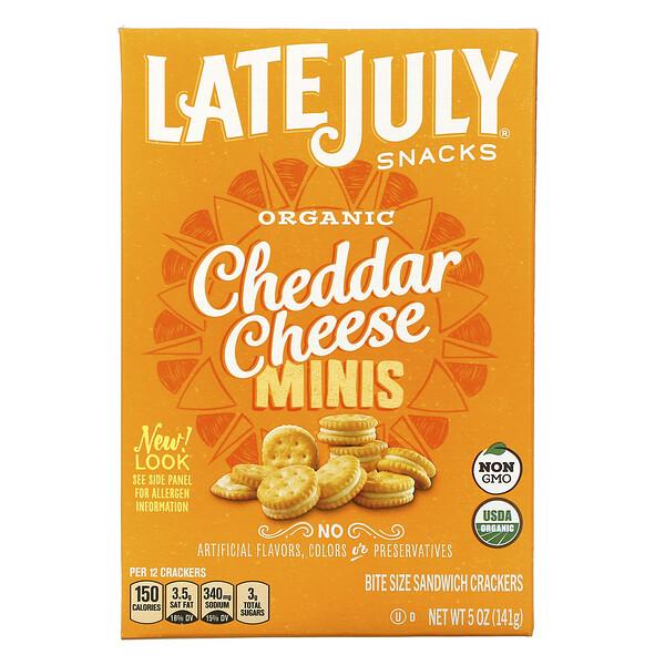 Late July, органические миниатюрные крекеры-сэндвичи, с сыром чеддер, 142г (5унций)
