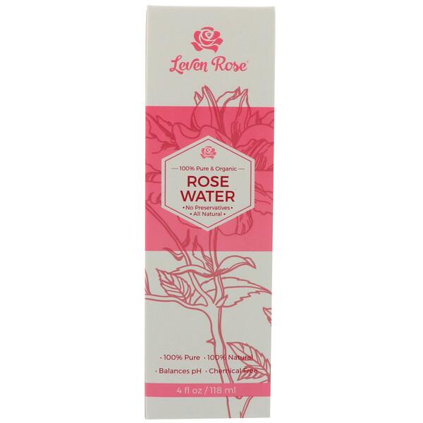 Leven Rose, 100% чистая органическая розовая вода, 4 жидких унции (118 мл)