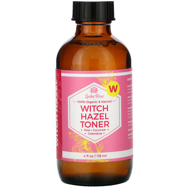 Leven Rose, 100% Organic & Natural, Witch Hazel Toner, 4 fl oz (118 ml)