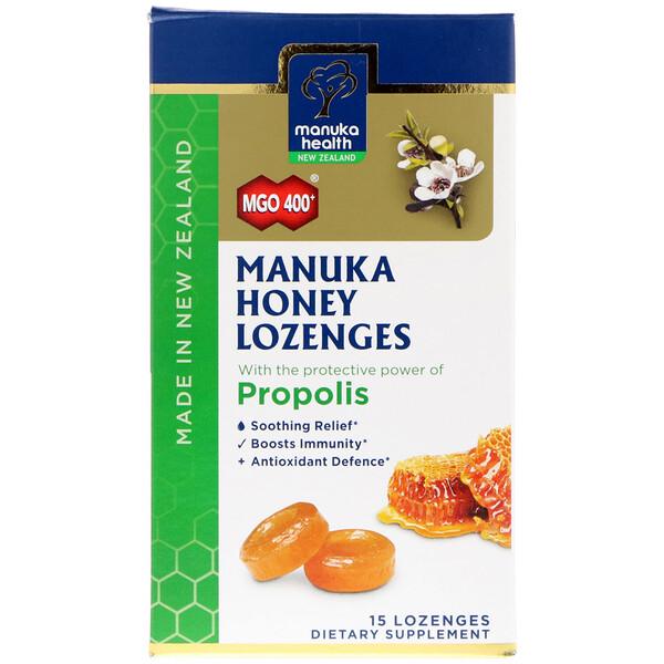 Manuka Health, Manuka Honey Lozenges, Propolis, MGO 400+, 15 Lozenges